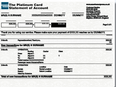 Amex Platinum Card statement Template free download [11]